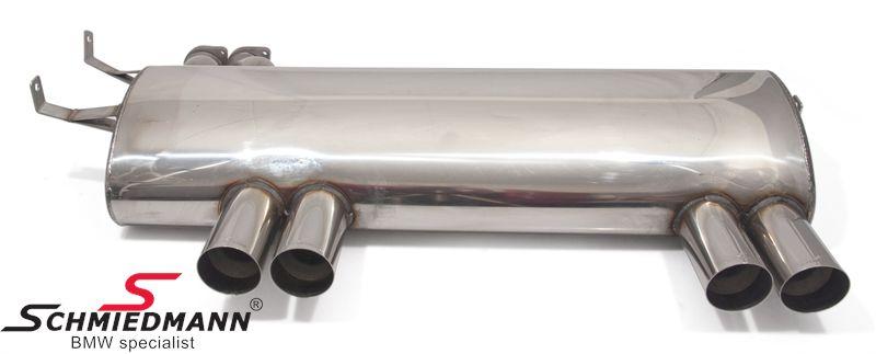 Schmiedmann rustfri-stål sportsbagpotte 4XØ76MM rørhaler med skarp afslutning (ikke rullet)