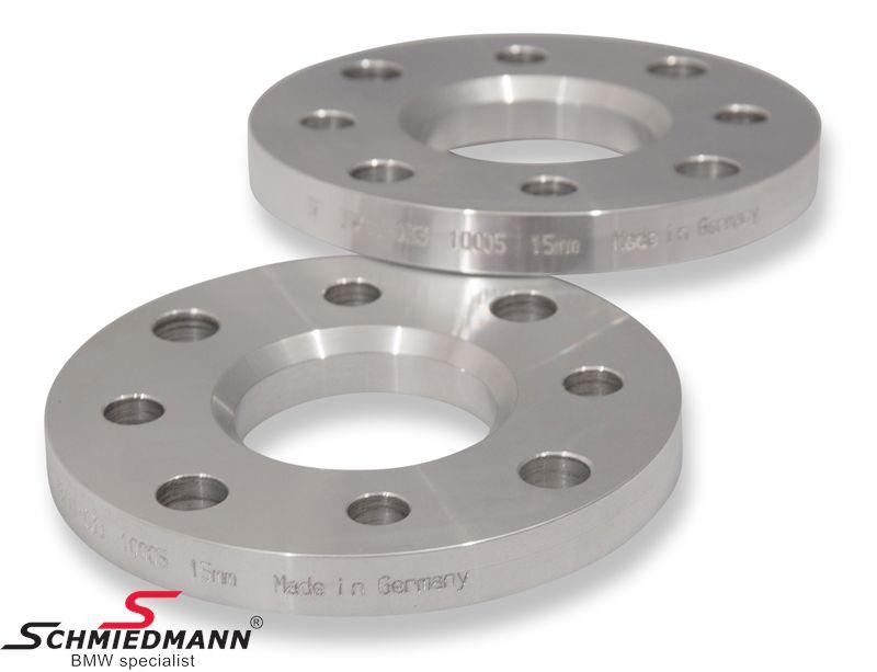 Hjulspacer alu sæt i alt 30MM pr. aksel (15MM pr. side/hjul) 4 huls uden centrering system 5 uden bolte