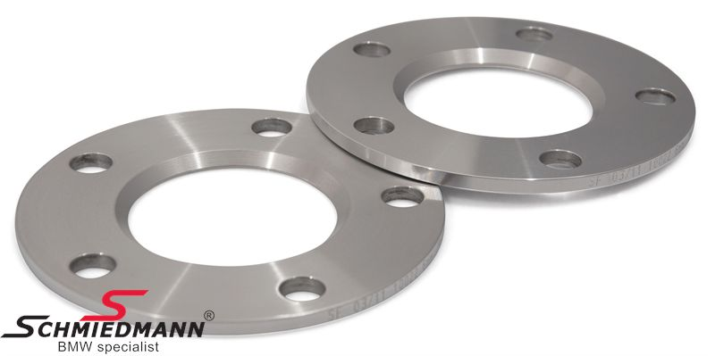 Wheel spacer set alloy, Per axle 12MM (6MM each side/wheel), not hubcentric - system 5, supplied without bolts