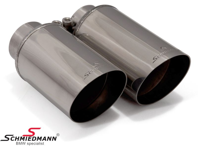 Schmiedmann chrom tailpipe with sharp cut (not rolled) double 2X76MM