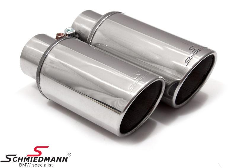 Schmiedmann chrome slutrör dubbla 2X76MM