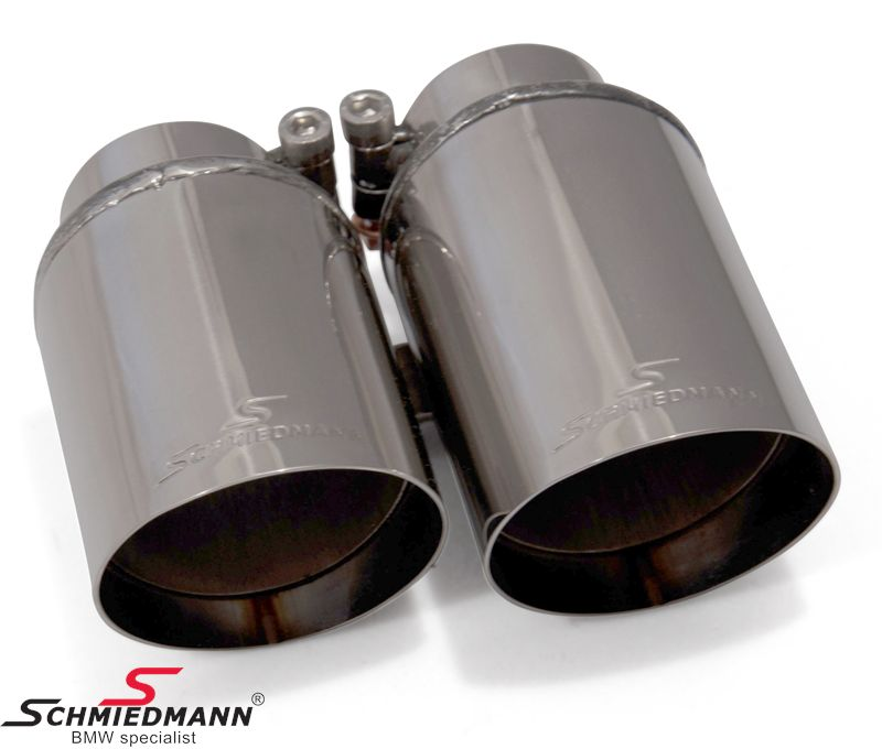 Schmiedmann chrom tailpipe with sharp cut (non rolled) double 2X76MM