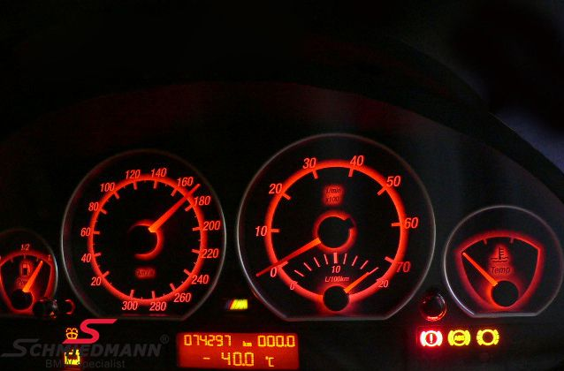 Color change in the instrument cluster, -red illumination-, set SMD bulbs