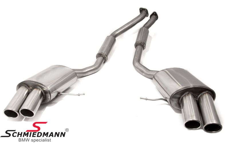 Schmiedmann stainless steel sport rear silencer set 4XØ86MM tailpipes, rolled and angeled