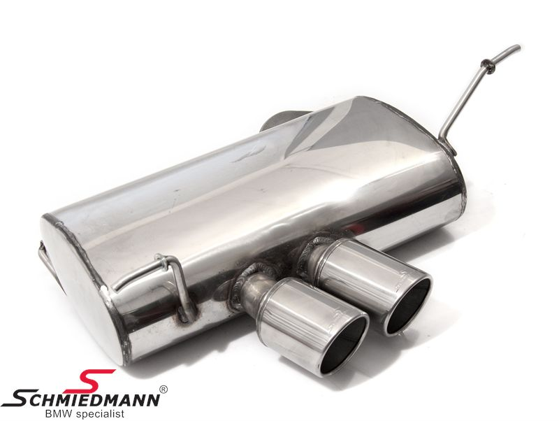 Schmiedmann stainless steel sport rear silencer 2XØ76MM rolled and angeled