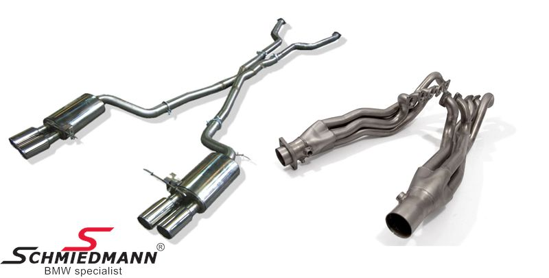 Schmiedmann Sport exhaust system complete set manifold / high flow metal cat.-system / X-pipe middle silencer replacement / sport rear silencers