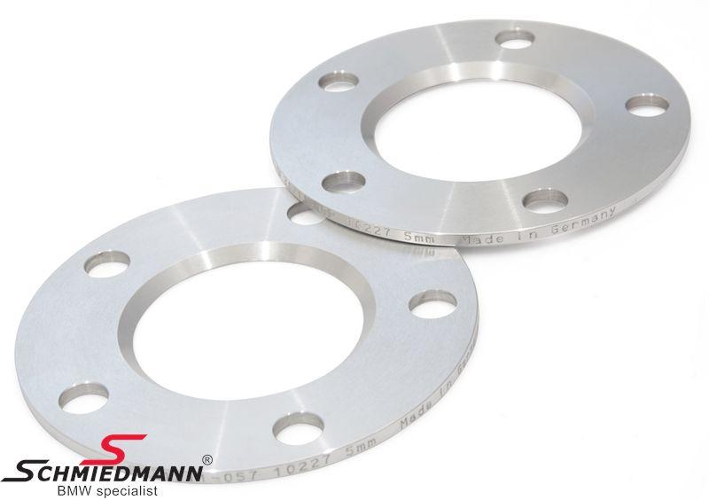 Hjulspacer alu sæt i alt 10MM pr. aksel (5MM pr. side/hjul) 5 huls uden centrering system 5 uden bolte