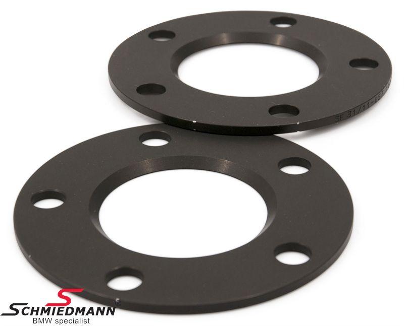 Hjulspacer sæt alu sort eloxceret i alt 10MM pr. aksel (5MM pr. side/hjul) 5 huls uden centrering system 5 uden bolte