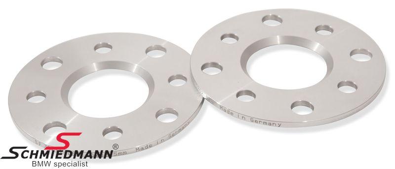 Hjulspacer alu sæt i alt 10MM pr. aksel (5MM pr. side/hjul) 4 huls uden centrering system 5 uden bolte