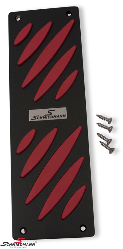 Schmiedmann alloy footrest black/red -Exclusive- with inserted logoplate