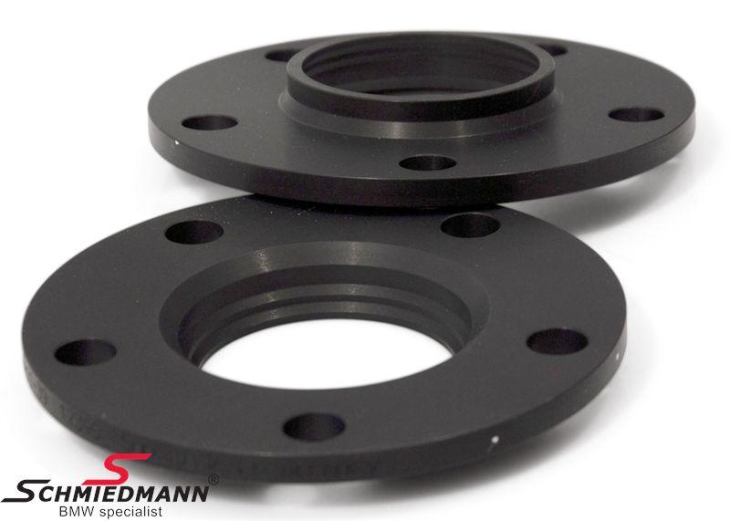 Hjulspacer alu sort eloxceret sæt i alt 16MM pr. aksel (8MM pr. side/hjul) 5 huls med centrering system 2 uden bolte