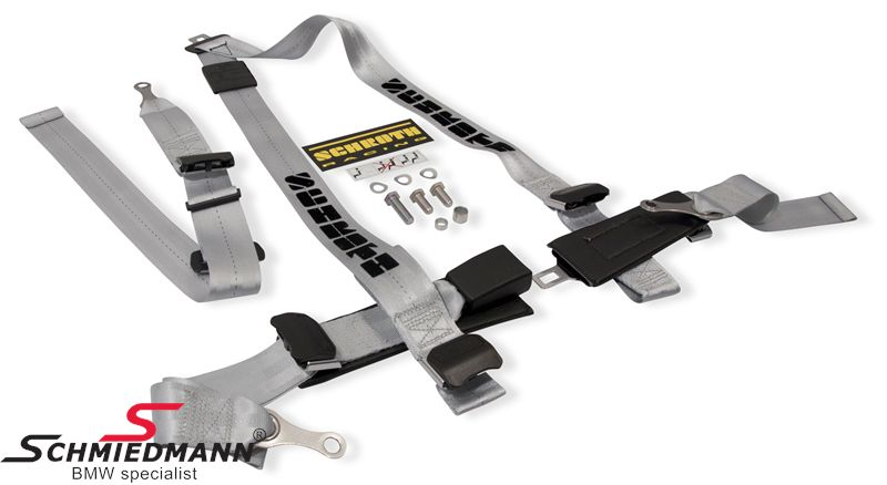 Racing 3 point restraints -Hosenträgergurt- Rallye 3 asm® original -Schrothgurt- silver L.-side