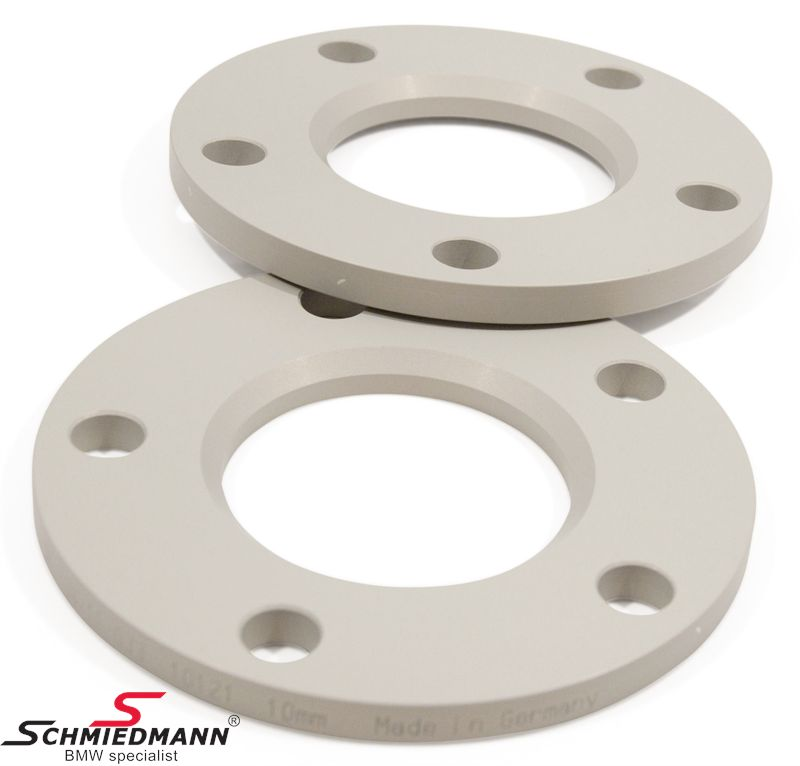 Wheel spacer set silver anodized alloy, per axle 20MM (10MM each side/wheel), not hubcentric - system 5, supplied without bolts