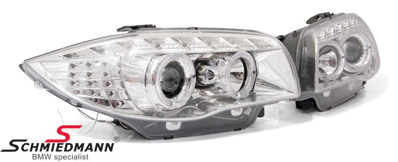 Headlights H1/H1 set -Chrom Edition- facelift 2008LCI look, angel eyes rings+white facelift look LED indicators