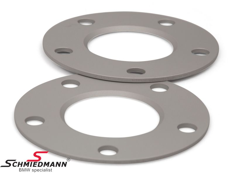 Wheel spacer set silver anodized alloy, per axle 8MM (4MM each side/wheel), not hubcentric - system 5, supplied without bolts