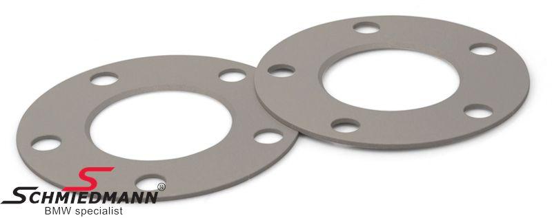 Hjulspacer sæt alu sølv eloxceret i alt 6MM pr. aksel (3MM pr. side/hjul) 5 huls uden centrering system 5 uden bolte
