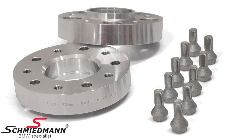 Hjulspacer alu sæt (nav 72,6MM) i alt 60MM pr. aksel (30MM pr. side/hjul) 5 huls med centrering system 4 med bolte
