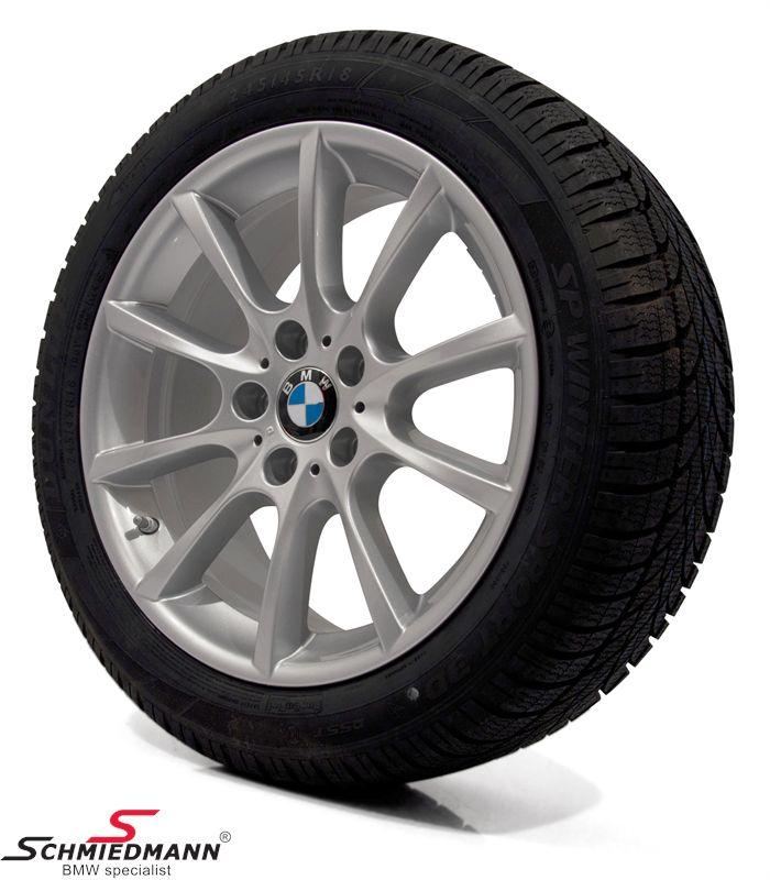 "18"" V-Speiche 281 originale BMW alufælge m.245/45/18 Runflat Dunlop SP Wintersport 3D ROF vinterdæk"