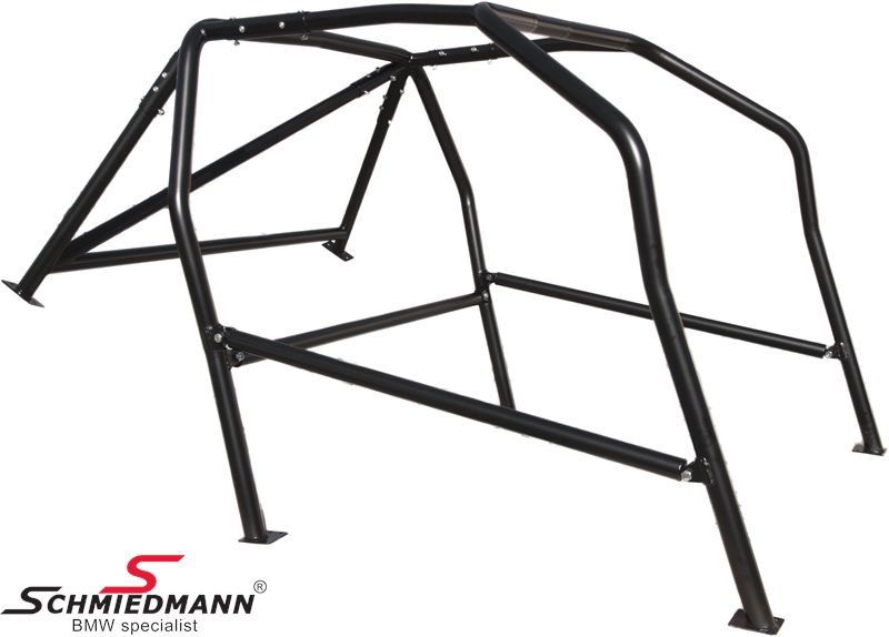 Roll cage -Type E- Wiechers Sport with side-protection / H.- and belt brace, with DMSB approval, black painted steel ST52 45X2,5/40X2MM