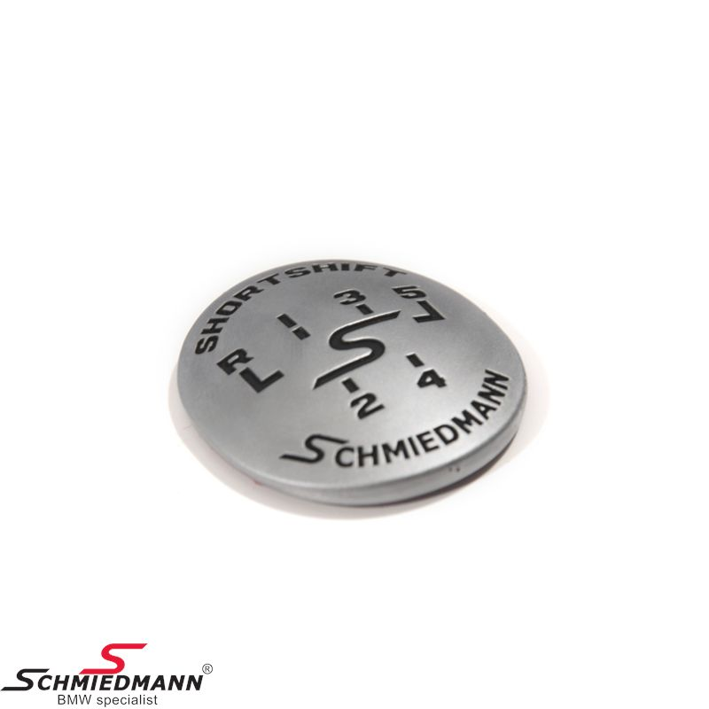 Schmiedmann emblem gearhandle oval adhered -SHORTSHIFT- mat chrome