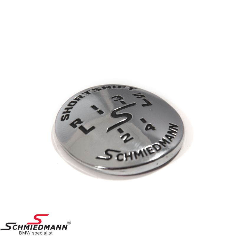 Schmiedmann emblem gearhandle oval adhered -SHORTSHIFT- chrome