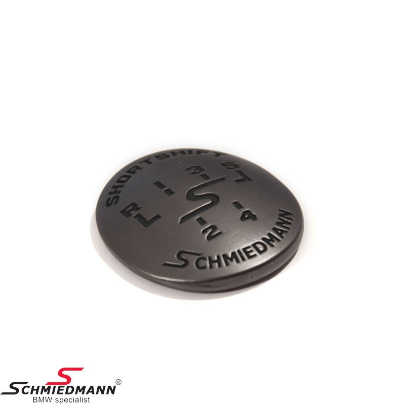 Schmiedmann emblem gearhandle oval adhered -SHORTSHIFT- gunmetal