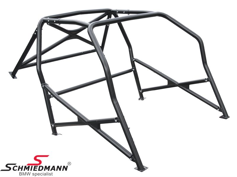 Roll cage -Type E- Wiechers Sport with side-protection crosses incl. protection plates / H.- and belt brace incl. protection plate, with DMSB approval+certificat, Cromo4, 45x1,5/41,3x1,5