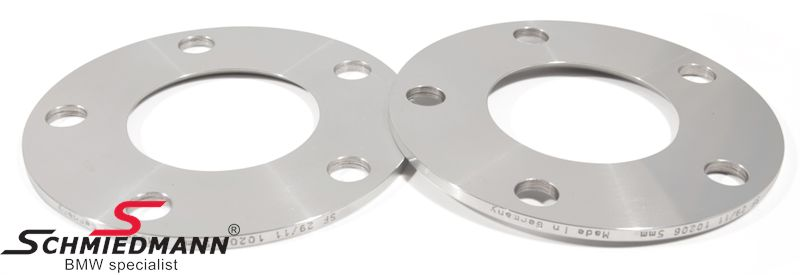 Wheel spacer set alloy, Per axle 10MM (5MM each side/wheel), not hubcentric - system 5, supplied without bolts