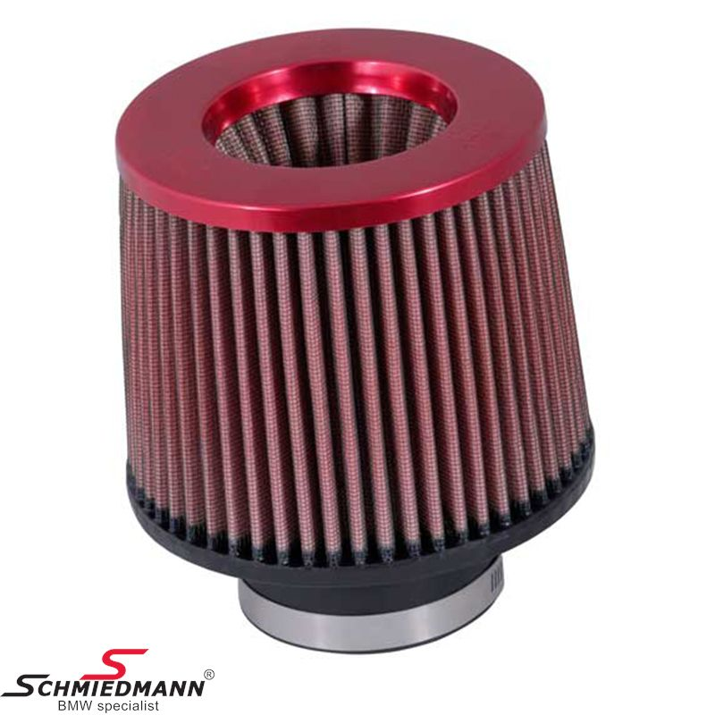 KN clamp-on conical universal sport airfilter, flange inverted red dia. 76MM / dia. top 133MM / dia. base 152MM height 127MM, max. 330HP