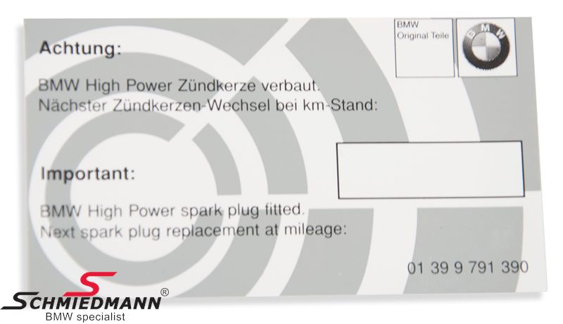 Sparkplug exchange sticker (sheet with 10pcs) - for mounting in the engine room - specification of time for next change