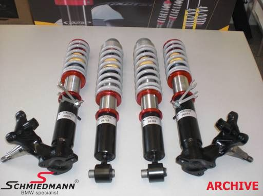 Coilover Kit Lowtec H9.3 -RACE VERSION- 30% harder, hight adjustable front+rear max. 70/60MM