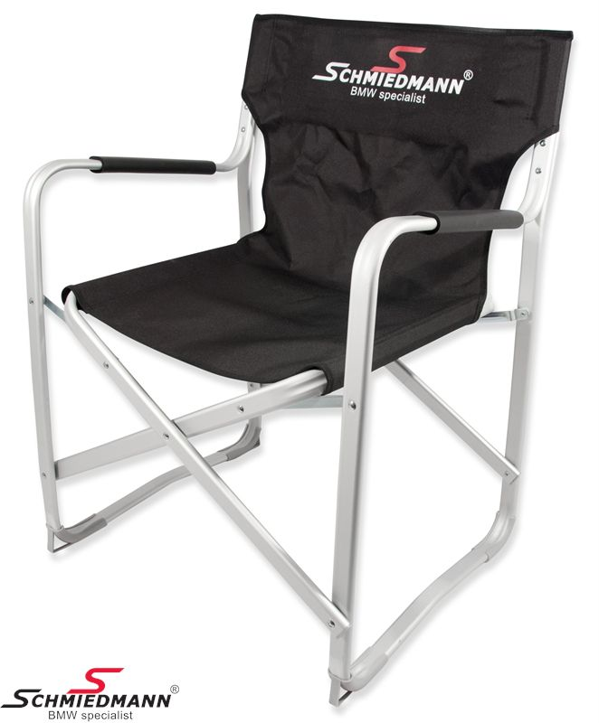Schmiedmann alu klapstol sort -Race Camp Folding Chair- med 2 farvet logo i ryggen