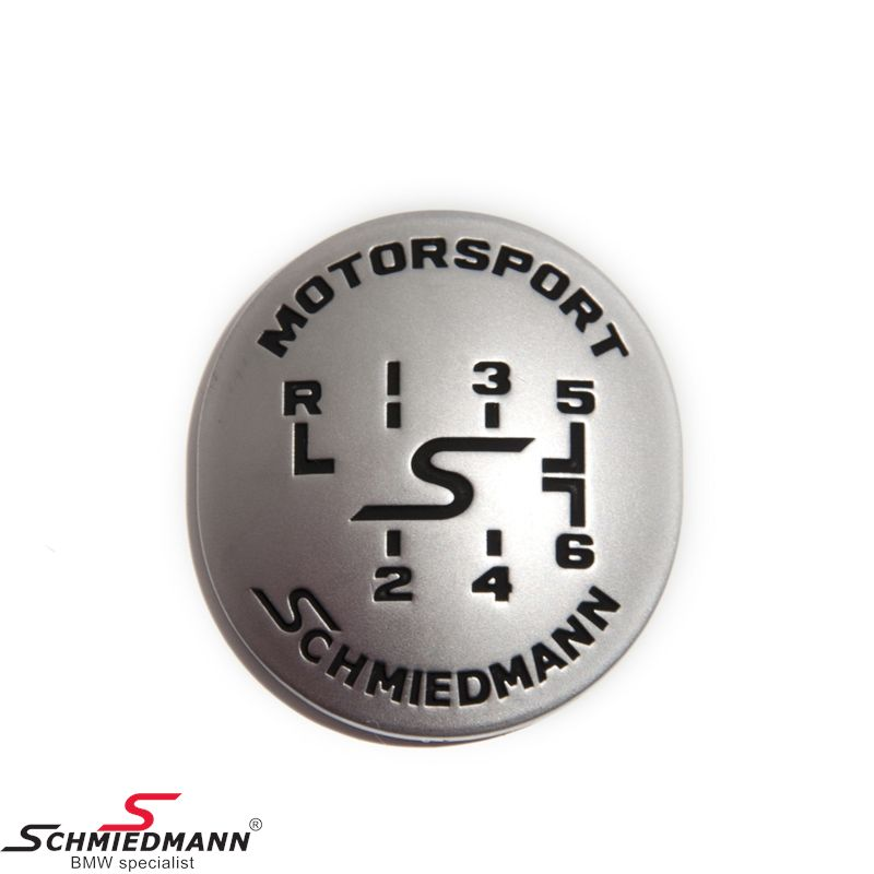 Schmiedmann emblem gearhandle oval adhered -MOTORSPORT- mat chrome