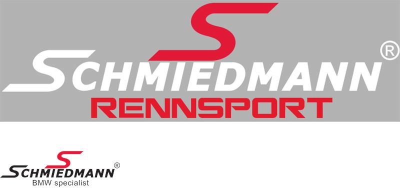 """Schmiedmann streamer -RENNSPORT- lenght = 30CM red """"S"""" and white text"""