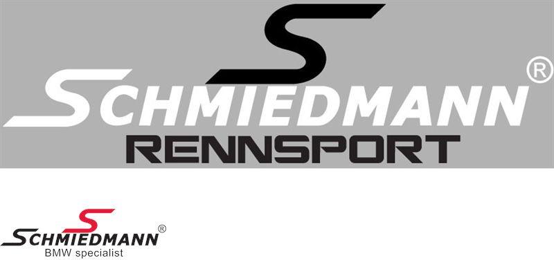 """Schmiedmann streamer -RENNSPORT- længde = 30CM sort """"S"""" tekst hvid"""