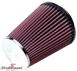 KN clamp-on conical universal sport airfilter, flange centred dia. 79MM / dia. top 89MM / dia. base 127MM height 152MM, max. 240HP