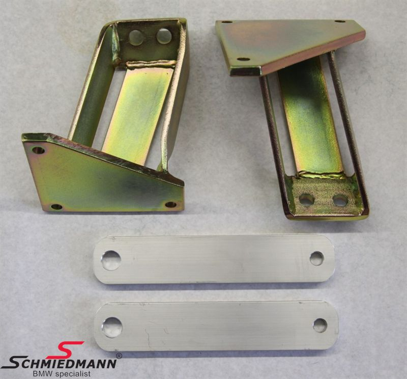 Special engine braket set, gold-electroplated iron ST37 inclusive 10MM aluminium fram  bridge spacers för engine swaps to V8 M60/M62/M5 S62 V8