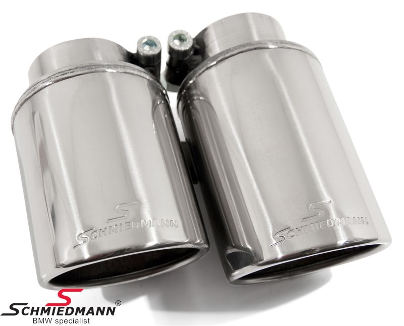 Schmiedmann chrom tailpipe double 2X76MM