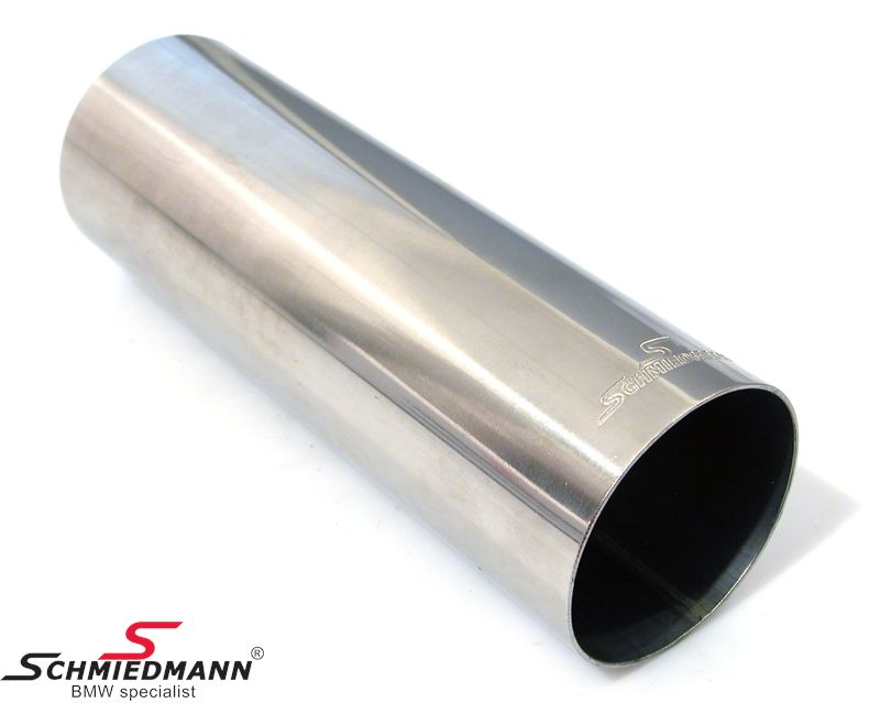 Schmiedmann tailpipe round cut straight with embossed logo D=76MM L=230MM