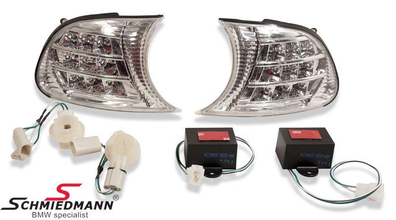 Blinkers fram LED klarglas chrome
