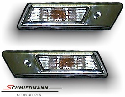 Sideindicators chrom white glass